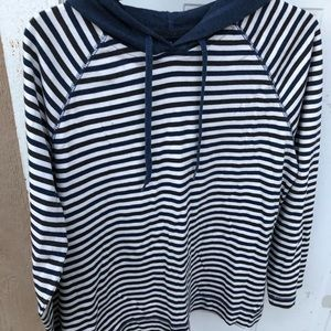 Blue/ White Striped Hoodie